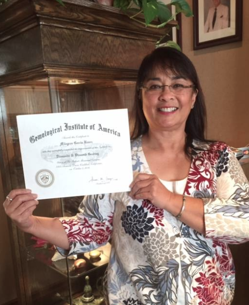 Mila Banez receiving her Diamonds and Diamond Grading Certificate from G.I.A. (the Gemological Institute of America).