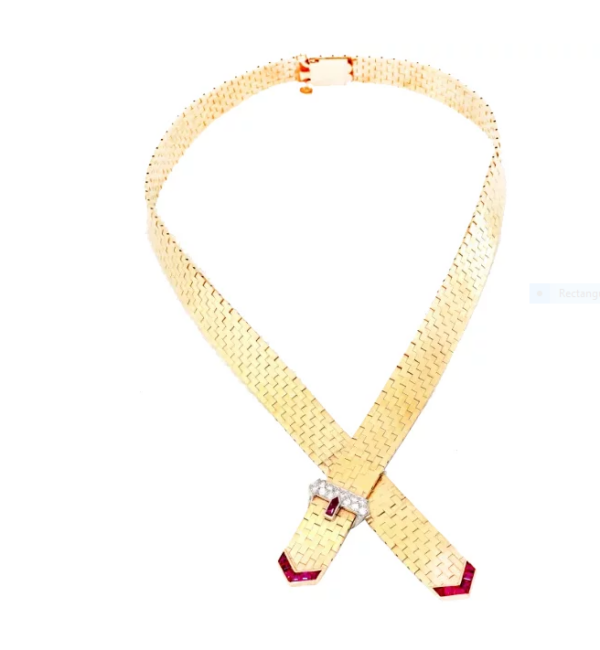 14k pink gold Retro buckle necklace
