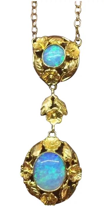 Art Nouveau opal necklac
