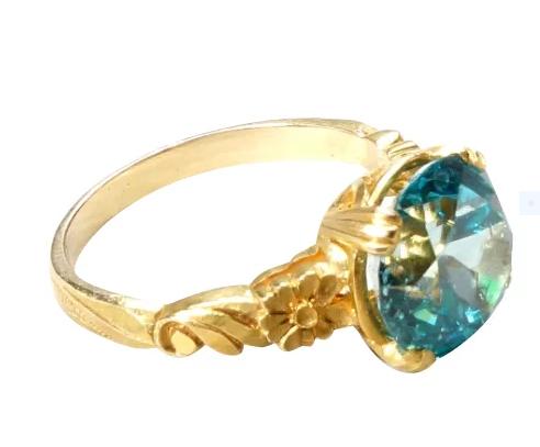 Vintage, engraved Blue Zircon ring
